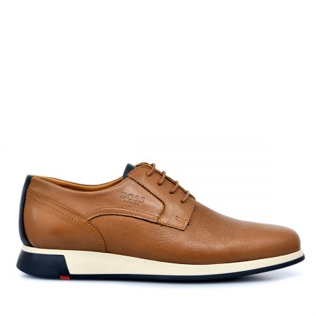 BOSS ΑΝΔΡΙΚΑ LACE UP SHOES ΑΝΑΤΟΜΙΚΑ ΜΕ ΔΕΡΜΑ ΤΑΜΠΑ & LASER ΣΧΕΔΙΟ