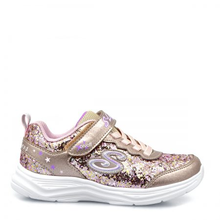 SKECHERS ATHLETIC S LIGHT-GLIMMER-KICKS-GLITTER N' CLOW ΓΙΑ ΚΟΡΙΤΣΙ ΡΟΖ-ΧΡΥΣΟ