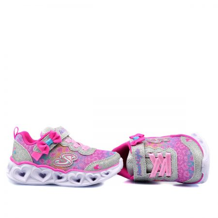 SKECHERS ATHLETIC ΓΙΑ ΚΟΡΙΤΣΙ S-LIGHTS HEART LIGHTS UNTAMED HEARTS SILVER/HOT PINK