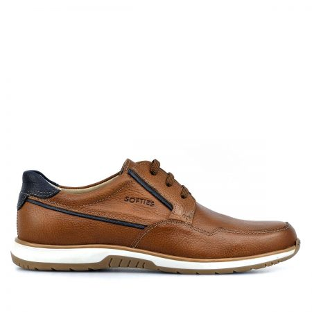 SOFTIES ΑΝΔΡΙΚΑ LACE UP SHOES ΑΝΑΤΟΜΙΚΑ CASUAL EXTRA-LIGHT ΤΑΜΠΑ ΔΕΡΜΑ  ΛΕΙΟ